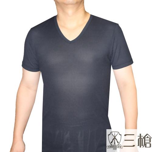 【三槍牌】3件組~時尚經典排汗速乾型男彩色V領短袖(L)