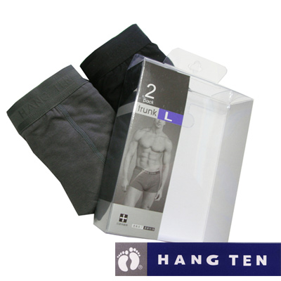 【HANG TEN】精典時尚彈力棉平口褲(盒裝2入)2盒/共4件 (隨機取色)