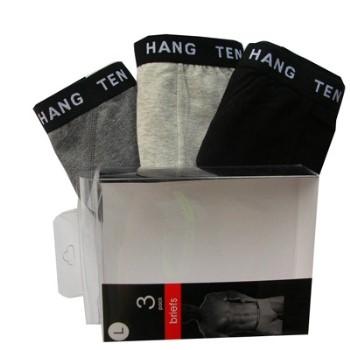 【HANG TEN】精典時尚彈力棉三角褲(盒裝3入)3盒/共9件 (隨機取色)