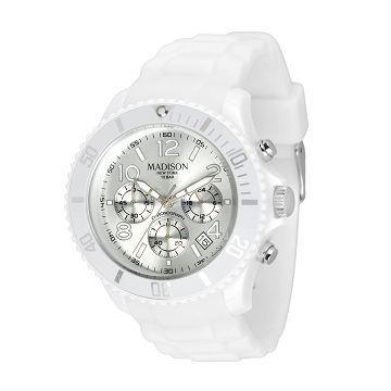 Madison NY CANDY 皇家運動風系列計時腕錶-極地銀/45mm