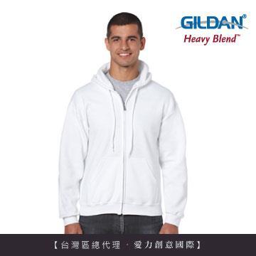 GILDAN 總代理100%美國棉~連帽拉鍊素面長袖口袋外套~白色