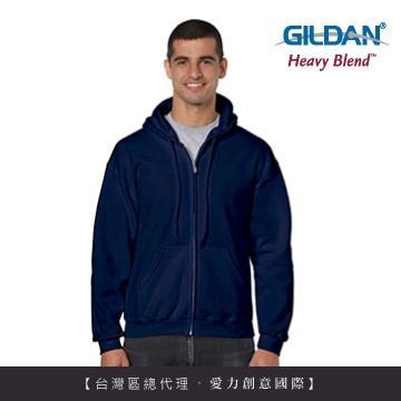 GILDAN 總代理100%美國棉~連帽拉鍊素面長袖口袋外套~藏青