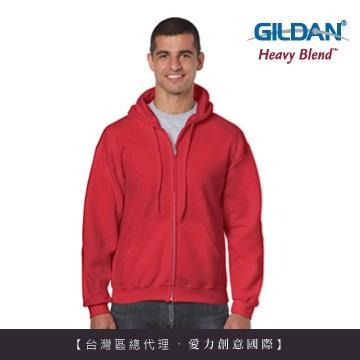 GILDAN 總代理100%美國棉~連帽拉鍊素面長袖口袋外套~紅色