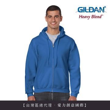 GILDAN 總代理100%美國棉~連帽拉鍊素面長袖口袋外套~寶藍