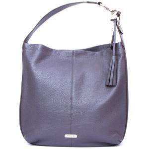 COACH荔枝紋全皮流蘇金屬飾牌肩背包-藕紫