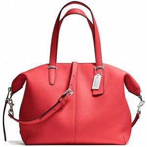 COACH Bleecker 素面荔枝紋全皮革手提/側背二用包-桔紅色