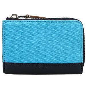 COACH 帆布真皮飾邊多功能證件鑰匙圈短夾-藍色