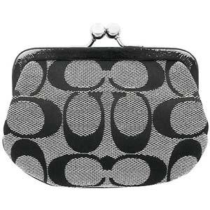 COACH 漆皮飾邊珠扣零錢包(黑灰)