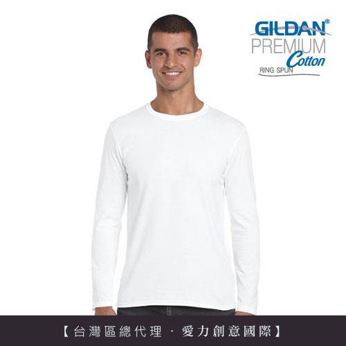 GILDAN 總代理100%美國棉~亞規成人長袖T恤-白