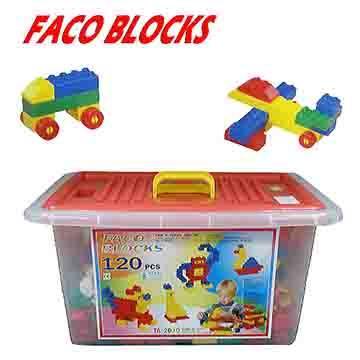 【17mall】FACO BLOCKS快樂堆高120pcs積木組(含扣整理箱)