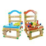【第二代高檔實木】兒童益智親子DIY積木椅(兩色任選)