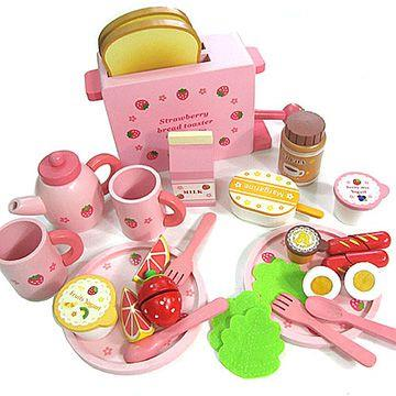 吐司麵包木製玩具家家酒組附木製麵包機