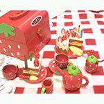 草莓蛋糕點心木製玩具家家酒手提組(木製蛋糕茶壺)