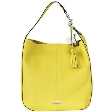 COACH荔枝紋全皮流蘇金屬飾牌肩背包-黃色