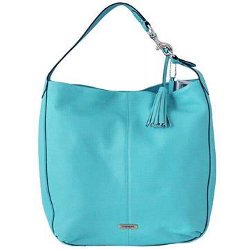 COACH荔枝紋全皮流蘇金屬飾牌肩背包-水藍色