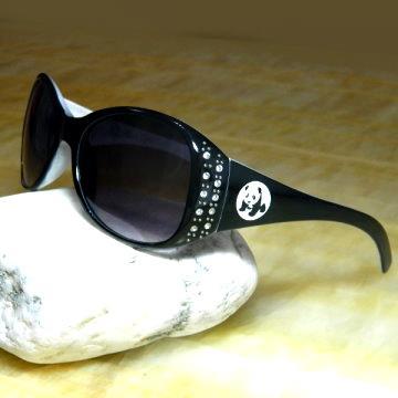 【Hawk eyes太陽眼鏡】A016a雙排水鑽大貓熊