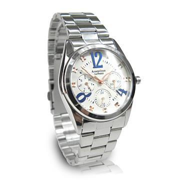 【Arseprince】方刻晶鑽時尚三眼中性錶-藍白/34mm