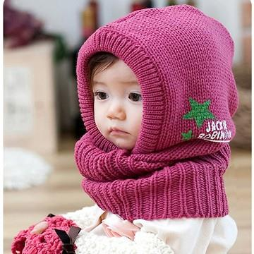 小童披肩帽連巾/保暖帽/毛線帽(四色可選)