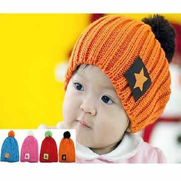 星星線條兒童保暖帽/兒童毛線帽/兒童毛帽(四色可選)