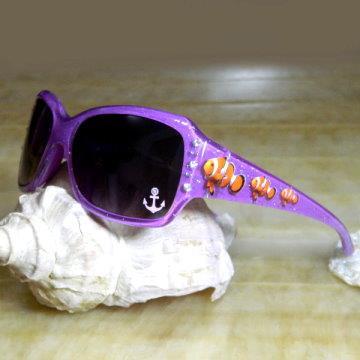 【Hawk eyes太陽眼鏡】K014c閃亮銀粉小丑魚(紅紫)