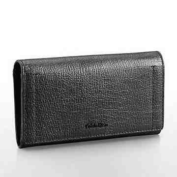 【Calvin Klein】女時尚紋理瓣蓋黑色信封皮夾包