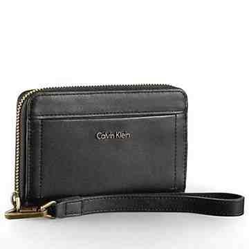 【Calvin Klein】女時尚Aster真皮全拉鍊手機錢包