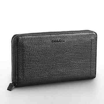 【Calvin Klein】女時尚Aura紋理拉鍊歐式黑色長夾包
