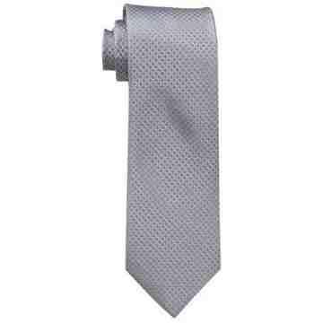 【Calvin Klein】男時尚Steel Micro銀色菱形圖案真絲領帶