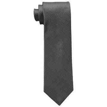【Calvin Klein】男時尚Steel Micro B黑色格圖紋真絲領帶