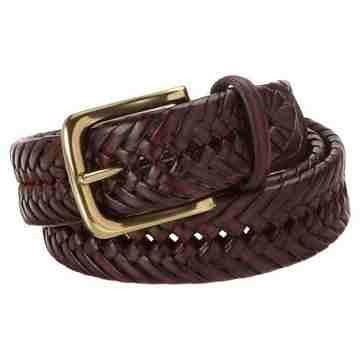 Tommy Hilfiger 男時尚編織深棕色皮帶