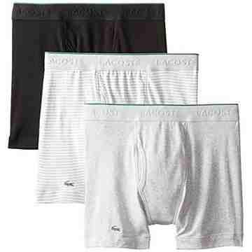 【Lacoste】男時尚黑灰白紋修飾四角內著混搭3件組