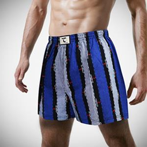 【天皇】舒適悠閒-日系條紋平口褲-藍色