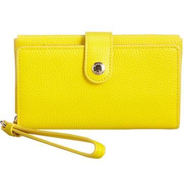 COACH 皮革壓紋掛式手機袋中夾-黃色