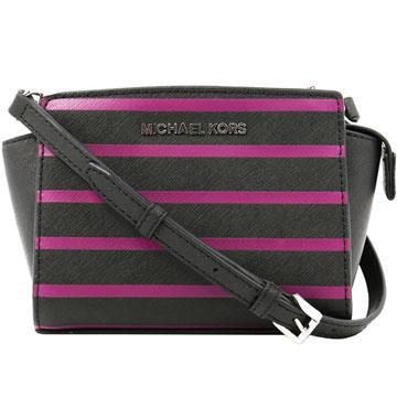 Michael Kors Selma Mini 防刮皮革斜背包-黑紫色