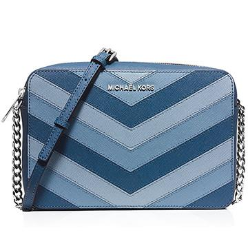 Michael Kors三色拼接方形拉鍊斜背包-藍色