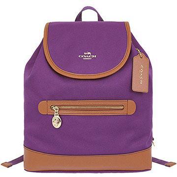 COACH 帆布文字LOGO休閒後背包-紫色