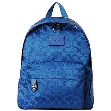 COACH 尼龍C織紋拉鍊後背包-藍色