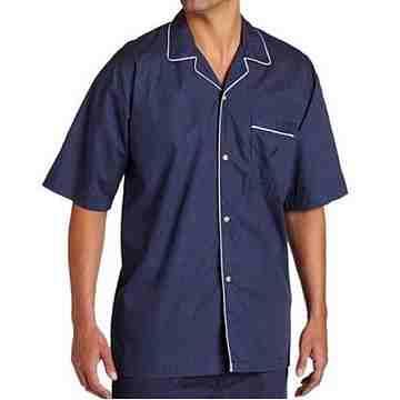 NAUTICA 2016男時尚滾邊對比深寶藍圓點短袖睡衣