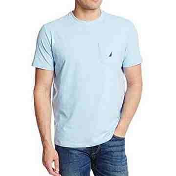 NAUTICA 2016男時尚帆標口帶款淡藍色短袖圓領ㄒ恤