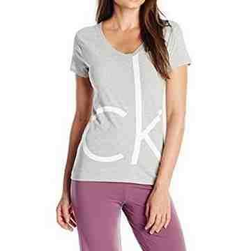 【CK】2016女時尚CK標誌灰色V領短袖款睡衣