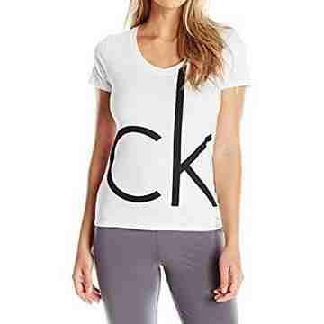 【CK】2016女時尚CK標誌白色圓領短袖款睡衣