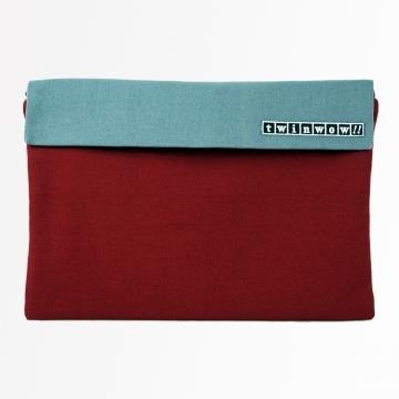 twinwow - 時尚筆記 - 細緻質感平板包 - 栗酒紅灰