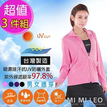 台灣製抗UV露指外套-3件組(丈青 M)