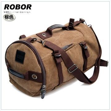 ◤韓系型男 ROBOR◢ROBOR衝鋒時尚多功能帆布筆電後背/旅行袋(棕色)