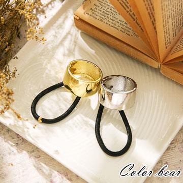 【卡樂熊】簡約時尚金屬馬尾釦髮圈髮束-銀色