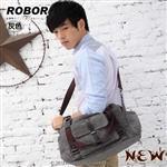 韓系型男 ROBOR紐約學院風側背/手提/斜背三用包(灰色)
