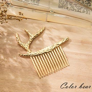 【卡樂熊】自然森林鹿角女孩髮叉-金色