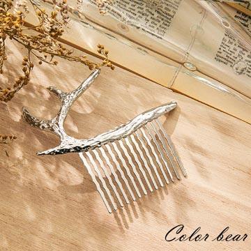 【卡樂熊】自然森林鹿角女孩髮叉-銀色