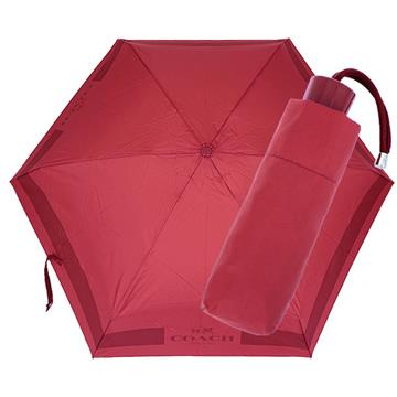 COACH 輕量攜帶型雨傘(酒紅)
