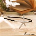 【卡樂熊】甜美海洋五角金屬海星髮箍-銀色